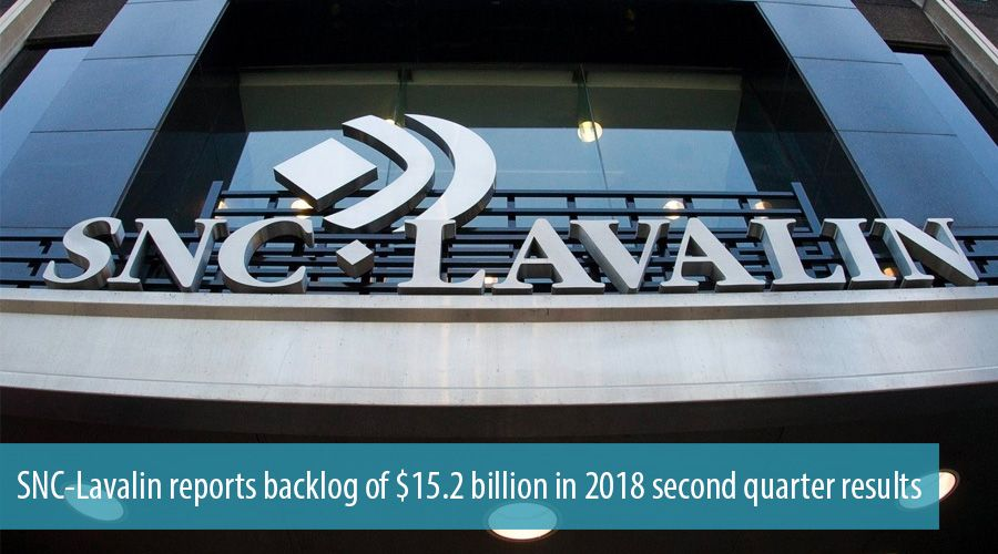 SNC-Lavalin reports backlog of $15.2 billion in 2018 second quarter results