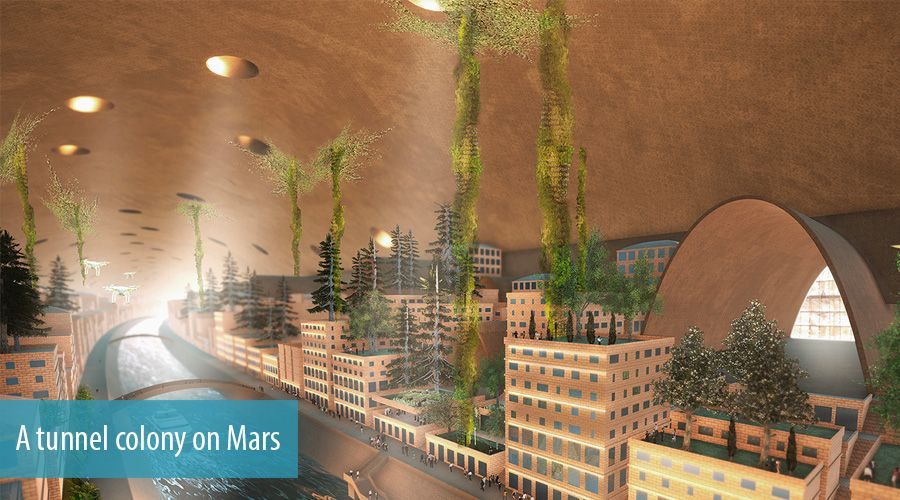 A tunnel colony on Mars
